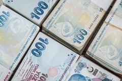 Bunch of Turkish Lira - stock photo