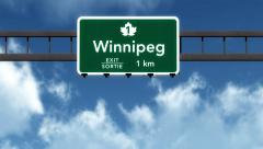 4K Passing Winnipeg Canada Transcanada Highway Sign with Matte 2 stylized - stock footage