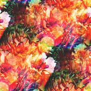 Stock Illustration of bokeh wallpaper background watercolor art blue green flower seam