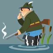 The old hunter after the shot Stock Illustration