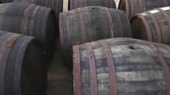 Wooden wine barrels Stock Footage