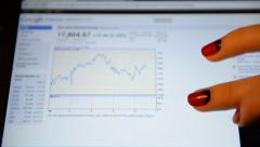 A woman looks at a graph Dow Jones on Google Finance - stock footage