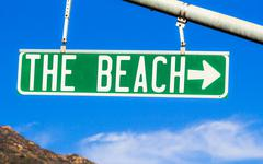 The Beach Street Sign - stock photo