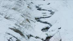 Snowy small Creek in winter. Stock Footage