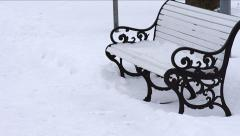 Snow covered benches. Stock Footage