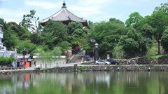 Cars Driving By Pond Nara Japan Stock Footage