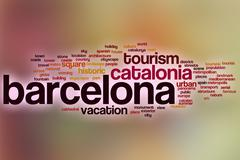 Barcelona word cloud with abstract background Stock Illustration