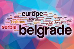 Belgrade word cloud with abstract background Stock Illustration