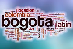 Stock Illustration of Bogota word cloud with abstract background