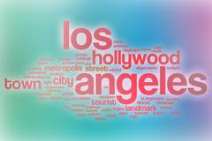 Los Angeles word cloud with abstract background - stock illustration