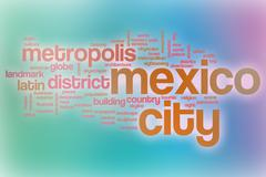 Mexico City word cloud with abstract background Piirros