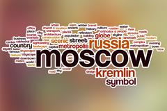 Moscow word cloud with abstract background - stock illustration