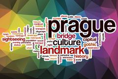 Prague word cloud with abstract background Stock Illustration