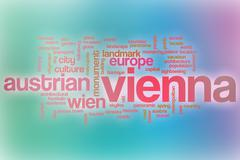 Vienna word cloud with abstract background - stock illustration