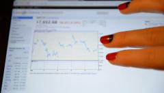 A woman looks at a graph Nikkei 225 index on Google Finance. Stock Footage