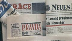 Prague 1972: socialist newspapers at the kiosk Stock Footage
