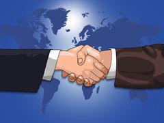 Global business shake Stock Illustration