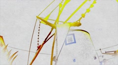 Windmill Water Color effect - stock footage