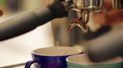 espresso pouring from machine - stock footage