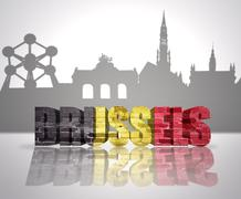 View of Brussels - stock illustration