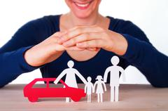 A Woman Protects a Family with their Car, Isolated Stock Photos