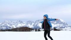 Young woman outdoor enjoying the snow, slow motion HD Stock Footage