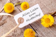 White Banner with Alles Liebe zum Muttertag - stock photo