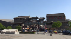 Timelapse tourist people visit Tianjin ancient commercial street iconic place Stock Footage