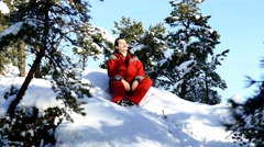 Blogger in sunny mountain forest - stock footage