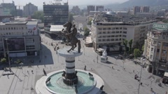 Aerial view of Macedonian capital city Skopje - stock footage