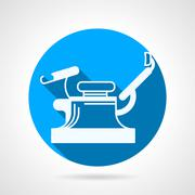 Round blue vector icon for gynecology chair - stock illustration