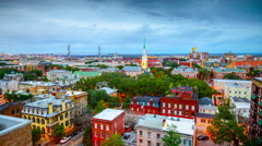 Savannah, Georgia, USA downtown city skyline from day to night. Stock Footage