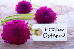 Label with the German Words Frohe Ostern which means Happy Easter Stock Photos