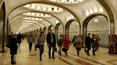 Passengers leave go to the subway station Mayakovskaya in Moscow Stock Footage