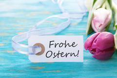 Banner with Frohe Ostern - stock photo