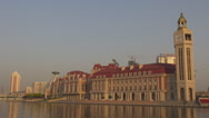 Stock Video Footage of Iconic Jinwan Square Tianjin landmark sunset tourism attraction Hai River day