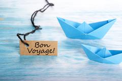 The French Words Bon Voyage on a Label which means Safe Journey - stock photo