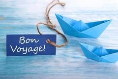 Label with the French Words Bon Voyage which means goog trip - stock photo