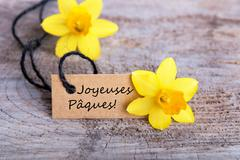 Label with the French words Joyeuses Pâques which means Happy Easter Stock Photos