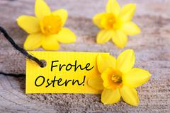 Label with the German Words Frohe Ostern which means Happy Easter - stock photo