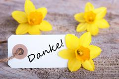 Tag with the German Word Danke which means Thanks Stock Photos