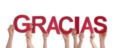 People Holding red Gracias - stock photo