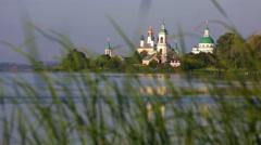View of Spaso-Yakovlevsky Monastery in Rostov Veliky from Nero's lake Stock Footage
