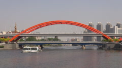 Timelapse ship sail Hai River Jingang Bridge Tianjin cityscape traffic street  Stock Footage