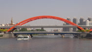 Stock Video Footage of Timelapse ship sail Hai River Jingang Bridge Tianjin cityscape traffic street