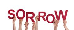 Many Hands Holding the red Word Sorrow, Isolated - stock photo