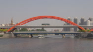 Stock Video Footage of Tianjin panorama city Jingang Bridge Hai River traffic street boat cruise sail