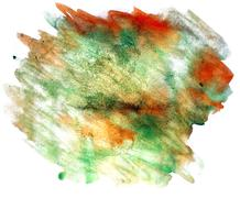 splash paint yellow, green blot watercolour color water ink isol - stock illustration