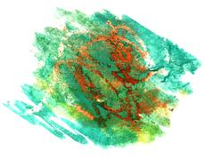 Splash yellow, green paint blot watercolour color water ink isol Stock Illustration