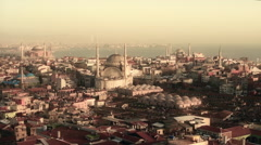 Istanbul, Turkey, aerial view, skyline, three mosque, Haghia Sophia Stock Footage